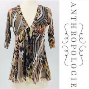 NEW Anthropologie Top Weston Wear Animal Print Tan